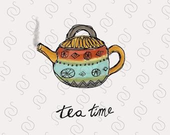 DIGITAL DOWNLOAD - Disregard WATERMARK- Printable - Tea Pot Card ∙ Post Card ∙ Greeting Card ∙ Birthday Card ∙ Note Card ∙ Tea Party Card