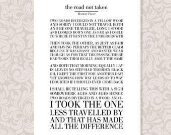 The Road Not Taken by Robert Frost A4 Print Digital Download in 5 colours