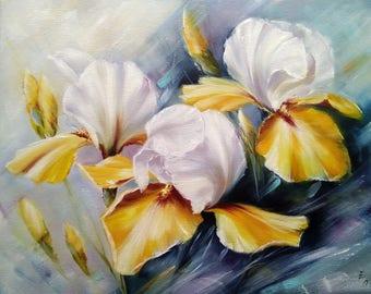 Summer irises Oil painting flowers