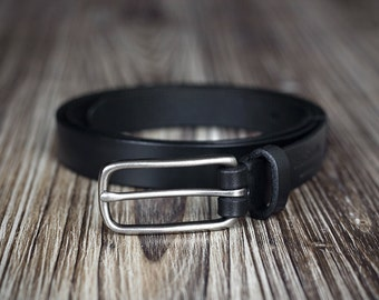 Women's belt - 2 cm width - Leather Belt - Black Belt -Brown Belt - vegetable tanned leather
