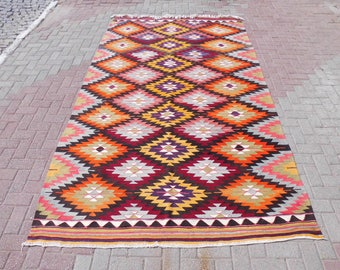 Handmade Vintage Turkish kilim rug, area rugs, bohemian rug, kilim rug large, floor rug, outdoor rug, orange rug,