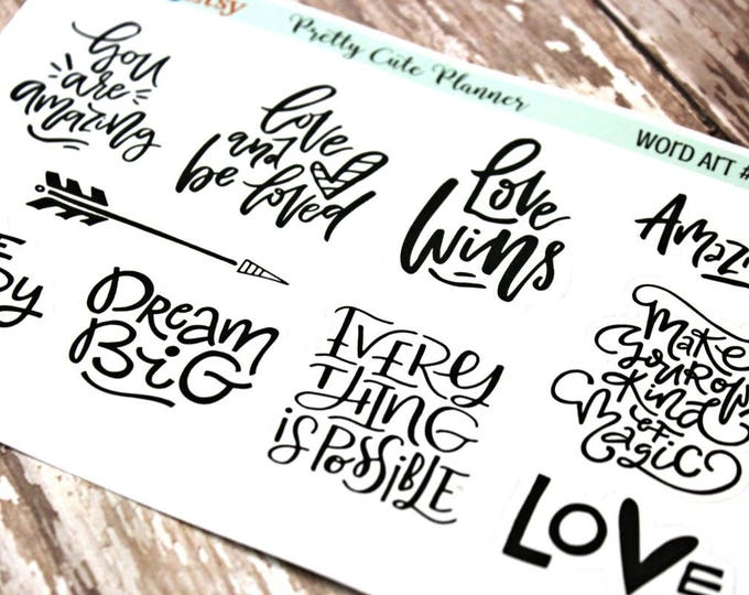 Planner stickers - Phrase Planner Stickers - Love Planner stickers - Wedding Planner stickers - Self Care planner stickers - Dream Big