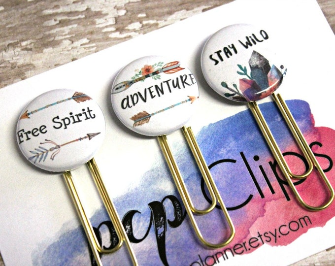 Planner Clips - Planner Clip set - Flair planner clip - Free Spirit clip - Adventure Clip - Stay wild Clip  - bookmark paperclip - Set of 3