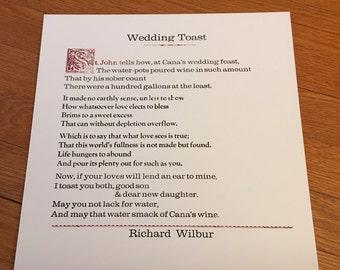 Richard Wilbur - Wedding Toast