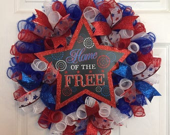 """18"""" Patriotic/4th of July Deco Mesh Wreath with """"Home of the Free"""" Sign - Multicolor"""