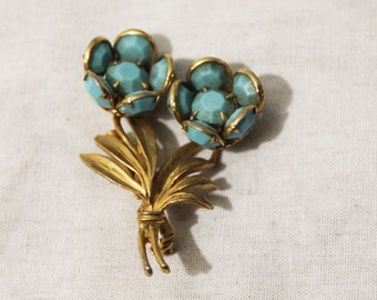 1950s Vintage Turquoise Blue Floral Bouquet Brooch