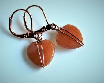 Peach Aventurine Heart Earrings
