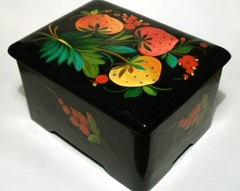 SALE Vintage Russian Wooden Box Hand Painted Fruit Floral Folk Art Trinket Jewellery Box Strawberry Black Lacquer Rectangular