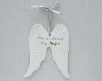 Angel Wings Ornament, Personalized Angel Ornament, Angel Ornament, Memorial Ornament, Bereavement Ornament, Memorial Gift, Heaven Ornament