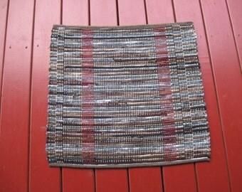 Handwoven wool blend rug vertical stripes