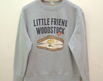 Vintage Little Friend Woodstock Snoopy Peanuts Funny Sweatshirt Sport Street Wear Swag Cartoon Size Size L