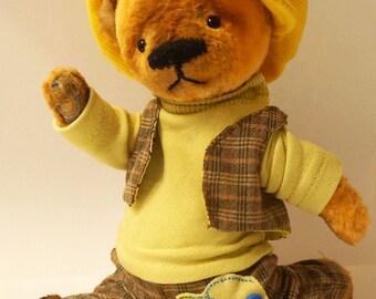 Brown Teddy Bear artists Gavroche , Teddy Bear artists , handmade toy , OOAK teddy bear with , Teddy in a suit