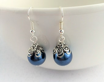 Bridesmaid Blue Jewelry, Navy Blue Pearl Earrings, Blue Wedding Jewelry, Elegant Blue Earrings, Blue Pearl Drop, Bridesmaid Gift, Drop Blue
