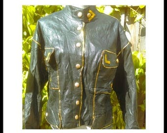 The 80's ultimate gold and black leather biker Jacket