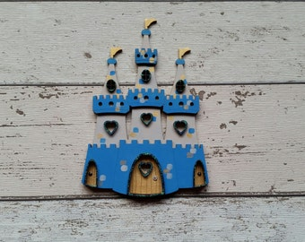 Fairy Door Blue  Beautiful Handmade Various options Princess/Prince castle