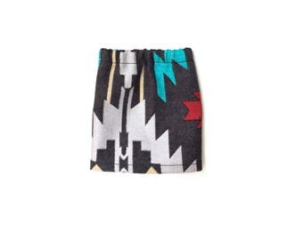 Pencil Skirt, Mini Skirt, Aztec, Tribal, Gray, Red, Turquoise, Silver, Gold, Fits dolls such as AG, Wellie Wishers, 14 inch Doll Clothes