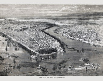"Vintage Bird's Eye View New York Harbor Wall Map | Antique Map New York Harbor 1855 13x19"""