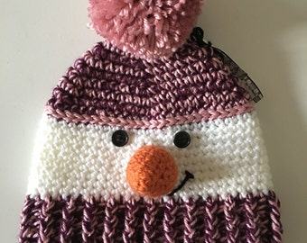 Tuque snowman Rose and mauve (6-10 years old / teen)