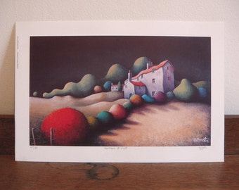 Farmhouse at night - Limited Edition Print - Landscape Painting