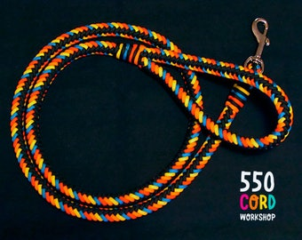 Thick Multicolored Paracord Dog Leash  Red - Orange - Blue - Yellow - Black