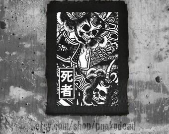 Dead Samurai •punk patch • back patches • punk fashion • samurai patch • punk aufnäher • oriental • punk accessories • sew on patches