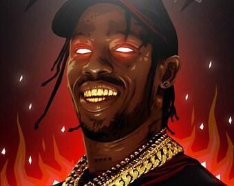 Travis Scott original canvas /art work, pop-art/hip-hop *watermark will be removed