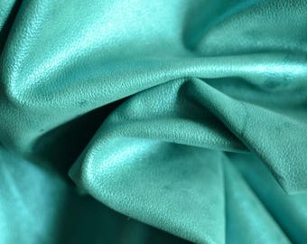 Turquoise Bright Green Leather Hide 90 cm x 70 cm 1.2 mm  Thickness  Italian Leather Hide  Blue Green Turquoise Leather Hide b642
