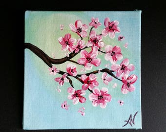 Original acrylic painting, 4x4 mini painting, magnet, blossoms