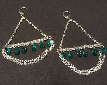Silver Chandilier Chain Earrings with Green Beads
