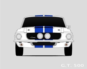 1967 Shelby GT500 Art // Shelby Cobra // Shelby Mustang // Carroll Shelby