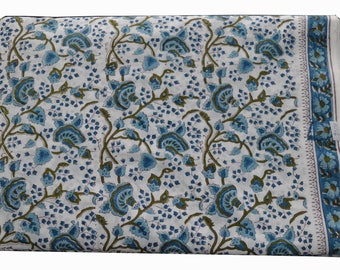 1 to 50 Yards (Print_241K) Indian Hand Block Printed Floral Cotton Fabric