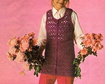 Girls Tunic, Vest, Crochet Pattern. PDF Instant Download.