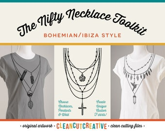 SVG Necklace svg Toolkit svg pendant svg personalize svg name svg Boho Ibiza shirt design svg cross feather girl DXF EPS Cricut & Silhouette