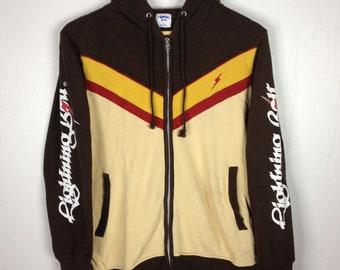 Rare !! Vintage LIGHTNING BOLT Spell Out Stripes Multi Color Brown Hoodie Medium Size