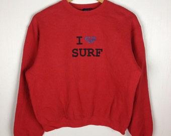 Rare !! Ladies ROXY SURFING I Love Surf Red Pullover Sweatshirt Medium Size