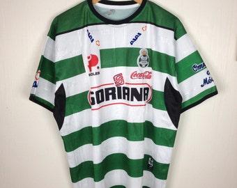 Rare !! SANTOS LAGUNA CLUB Soriana Home Football Mexico Jersey White Green Stripes X-Large Size