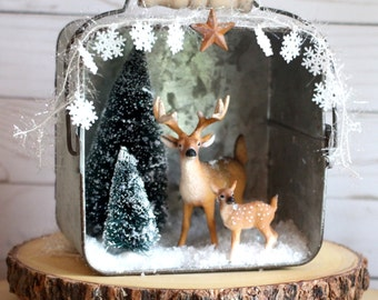 Rustic Christmas Decorations Christmas Diorama Christmas Mantle Woodland Christmas