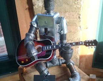 The Guitarist - Industrial Pipe Robot Lamp