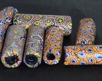 v15-  7 antique millefiori beads