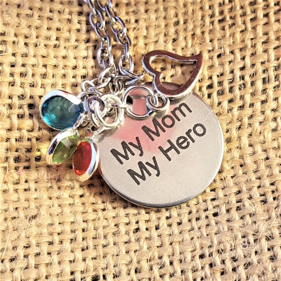 LDS Jewelry for Mom, Gifts for LDS Mom, My Mom My Hero Necklace, To Mother from Son Jewelry, To Mom from Kids, Grandma Gifts, Mormon Charms