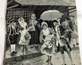 "NEYRET FRERES Vintage Woven Silk picture ""L'Averse - The Downpour"" - D.A.Perpez, Stevengraph, No Frame, Image 7.5 x 9"" Very Good Condition"