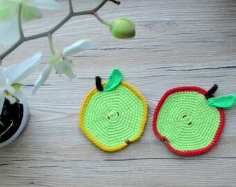 Crochet apple coasters / fruit coasters / drink coasters / glass coasters / kids coasters / kitchen decor / table decor / nursery decor