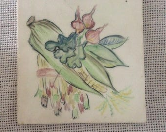 Vintage MidCentury Gladding McBean Hermosa Ceramic Tile/Trivet--Hand Painted Still Life--Ear Of Corn, Radishes, Asparagus--Made In U.S.A.