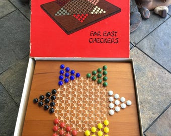Vintage Wooden Far East Checkers Chinese Checkers No 650 Crestline Manufacturing Company 1970s Mint Board