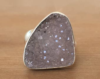 Druzy and Sterling Silver Ring, Geode Druzy and Silver Ring, Silver Druzy Ring, Geode Druzy Ring, Adjustable Ring, Crystal Ring, Boho Ring