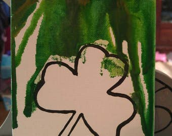 3 leaf clover melted crayon picture