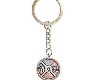Weight Plate Fitness Keychain in Silver, Bodybuilding, Lifting, Fitness Gift
