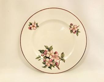 Vintage Portland Pottery Cobridge Staffordshire England Dinner Plate in 'Blossoms' Pattern c1950's