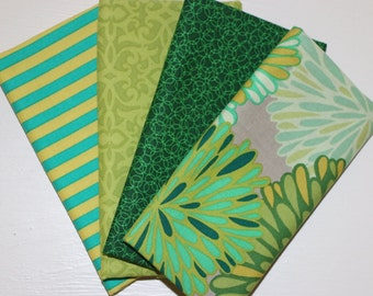 SALE - 4 Fat Quarters - Shades of green -  cotton fabric