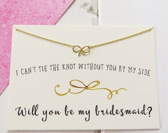 Bridesmaid Gold Bow Necklace - Will You Be My Bridesmaid Necklace - Bridesmaid Gift - Dainty Bow Necklace - Wedding - Maid of Honour